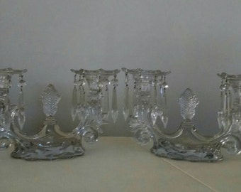 Pair of Cambridge Caprice Candelabra #1356 with Bobeche and 32 prisms. 1940's -1957. Mid-Century Elegance