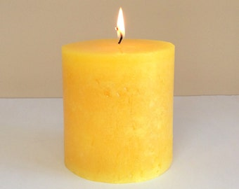 """Yellow / Gold Rustic 4"""" Wide Pillar Candle - Choose 4"""", 6"""" or 9"""" Tall"""