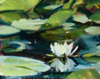Small Oil Painting of a Water Lily