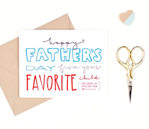 father's day card - favorite child - recycled paper