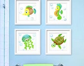 Sea Animals Art for bathroom or nursery