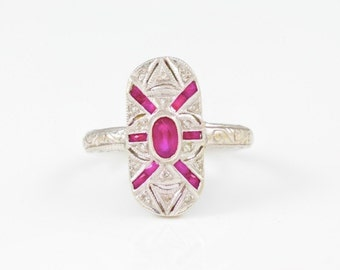 Antique, Art Deco, Ruby and Diamond 14K, White Gold Ring