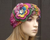Cable Knit Headband Head Wrap Ear warmer Winter Colorful Multi-color with Crochet Flower and Yellow Gem Button