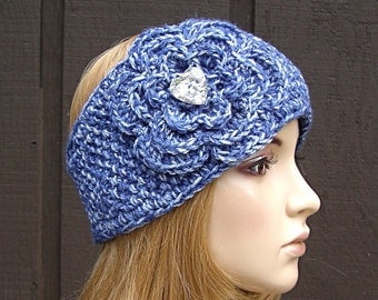 Crochet Flower Head Wrap Headband Earwarmer Winter Knit Blue Tones with Heart Sparkle Buttons