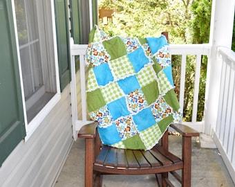 Crib Size Rag Quilt -- Monkeys Quilt , Green Quilt, Baby Rag Quilt, Blue Rag Quilt, Gender Neutral Rag Quilt