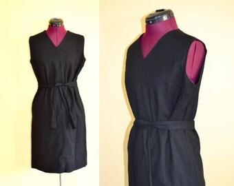 1960s Vintage Black Belted Sleeveless Sheath Dress size S M bust 36