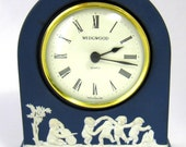 Wedgwood Jasperware Clock 1980s Portland Blue Dancing Cherubs German Battery Movement