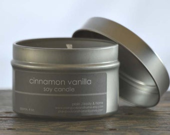Cinnamon Vanilla Soy Candle Tin 4 oz. - cinnamon soy candle - vanilla soy candle - fall soy candle - bakery soy candle - holiday candle