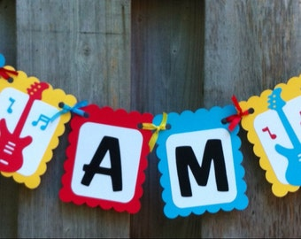 I am 1 Rock and Roll Theme High Chair Banner, Birthday Decorations, Red, Yellow, Blue, Rock and Roll Party Decorations, Music Birthday