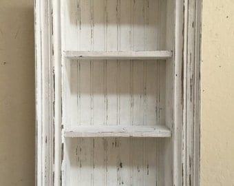 Antique Style Shadow Box,Framed Shadow Box,Shabby Style Wall shelf,Cubby Shelf,Chalk Paint Shelf,French Country Shadow Box,Shabby Chic Shelf