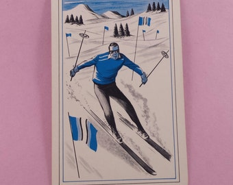 Vintage playing cards vintage skier 5 cards (E-255)