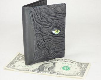 Leather Wallet Monster Face Bi-Fold Black Leather Credit Card Holder Hocus Pocus