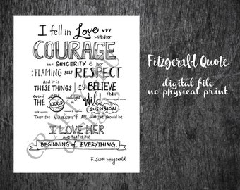 F. Scott Fitzgerald Quote, Hand Lettered Art, wedding quote, love poem, wedding gift, wedding decor, wedding print, personalised poem