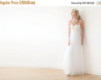 Ivory tulle ballerina dress, Sweetheart neckline maxi tulle wedding dress, Romantic ivory tulle gown
