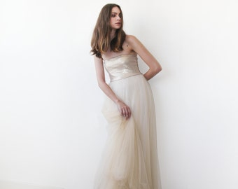Gold champagne strapless sequined tulle gown , Floor length tulle dress, Strapless bridesmaids dress