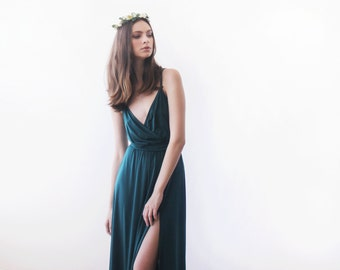 Green forest straps wrap dress, Emerald bridesmaids dress with a slit 1060