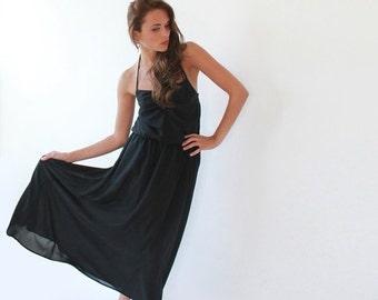 Maxi black ballerina backless dress, Sweetheart neckline dress