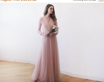 Blush maxi tulle gown with long sleeves , Pink blush bridesmaids maxi gown
