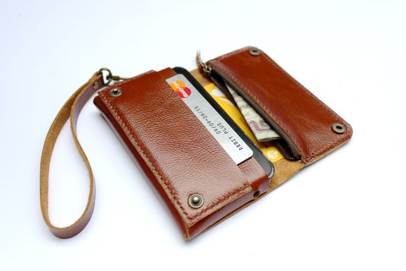 Brown Bifold leather  iPhone wallet  wristlet  with zipper