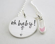 Expectant Mom Pregnancy Announcement Baby Girl or Baby Boy Pin Necklace - Gift for Pregnant Women - Hand Stamped Silver Pregnancy Necklace