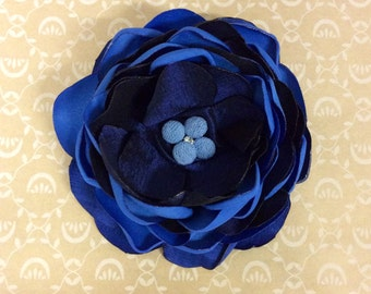 Blue Fabric Flower Pin clip