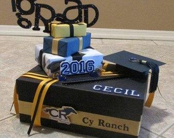 Grad Box with Grad, Year, Name of Grad  and School Initials and school Emblem Graduation Card Box