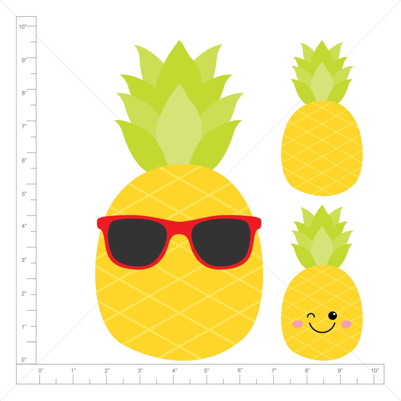 Clipart - Pineapple / Kawai / Sunglasses (Single Clipart ...