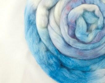 Merino / Silk Roving, Blue and Burgundy, 3.5oz/100gm