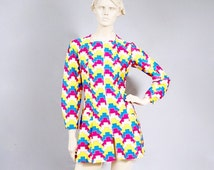 35% Discount Sale Vintage 1970s Disco Era Psychedelic Op Art Thunderbolt Zip Up Micro Mini Dress