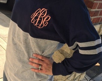 MONOGRAMMED Spirit Shirt Navy/Heather Grey (Font Shown: Master Circle in Coral)