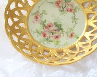 Rare, Antique, Ester Buckingham Horlbeck Miler Signed Bowl, Hand Painted 22 Kt. Gold Trellis Rim Edge, Collectible -  c. 1861 - 1931