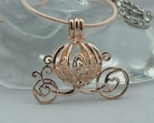 Pearl Cage Carriage Rose Gold Plated Charm Necklace Princess Cinderella Pick A Pearl or Wish Pearl Epcot Pumpkin Locket