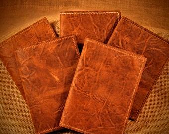 Handmade in USA -  Leather Passport holder / wallet / case Distressed Brown