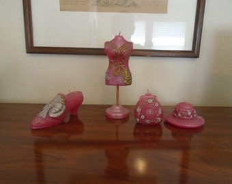 Stunning Pink Set Of Bedroom Candles / 4 Pieces / New in box