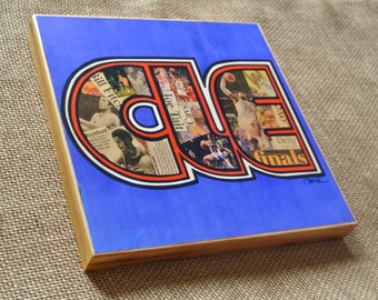 CLEVELAND CAVS CLE Throwback Orange & Blue - 8x8 Handmade Wood Print