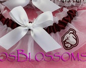 keepsake MISSISSIPPI STATE BULLDOGS fabric handmade into bridal prom garter - white satin bow - size xs s m l xl or xxl