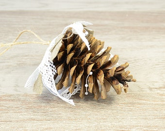 Natural Christmas Tree Ornaments Pine Cone Xmas Decoration Rustic Shabby Chic  Burlap Lace  Woodland Wedding Winter Decor Pine Cone set of 3