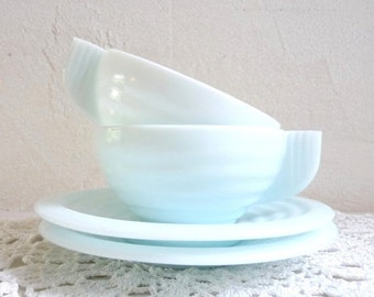 BLACK FRIDAY  SALE Vintage Pair of Ice Blue Milk Glass Cup and Saucers, Art Deco Style, French Retro Cups.