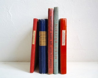 Vintage SCHOOL BOOK COLLECTION, Blue/ Red Educational Books. Decorative Book Set of 5 different books.