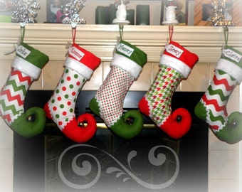 Christmas Stocking personalized - elf stocking - SET OF 5