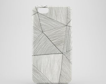 Stripes mobile phone case / iPhone 7, iPhone 7 Plus, iPhone SE, iPhone 6S, iPhone 6, iPhone 5S, iPhone 5, black and white stripy iPhone case