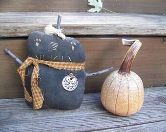 Primitive Black Jack Pumpkin Man Shelf Sitter Fall Decor
