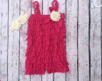 Petti Romper-Lace Romper-Baby Romper-Hot Pink-fuscha-Girls Romper-Lace Petti Romper-Ruffle Romper-Romper-Baby Outfit-Onesie-Birthday