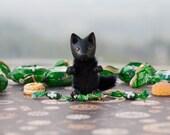 Tiny black wolf matchbox Halloween toy pocket miniature art collectible dog Woodland animals gift kids BJD