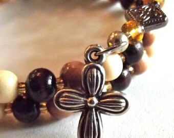 Wood and Amber Rosary Bracelet