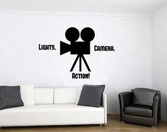 Lights Camera Action Movie Room Wall Vinyl Decal - Movie Camera Wall Vinyl Decal