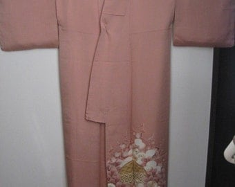 Sale:10%off,Embroidery Vintage Kimono,Silk,Pink,No.2