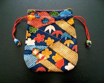 Pouch,Small Bag,Japanese  Silk kimono fabric #20