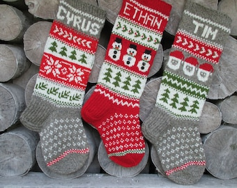Set of 3  Christmas stocking Personalized Wool Hand knit Red Green Gray White with Gnomes Santa Deer Snowflakes Snowman Christmas ornament