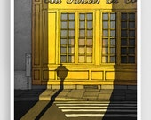 Paris illustration - Au Parloir du Colombier - Art illustration Prints Posters Architectural drawing Travel poster Home decor Grey Yellow
